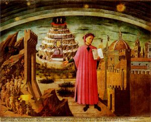 Dante Alighieri shows his poem. Fresco by Domenico di Michelino