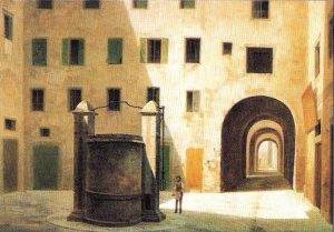Fabio Borbottoni, painting of the well's square in the ghetto (1882)