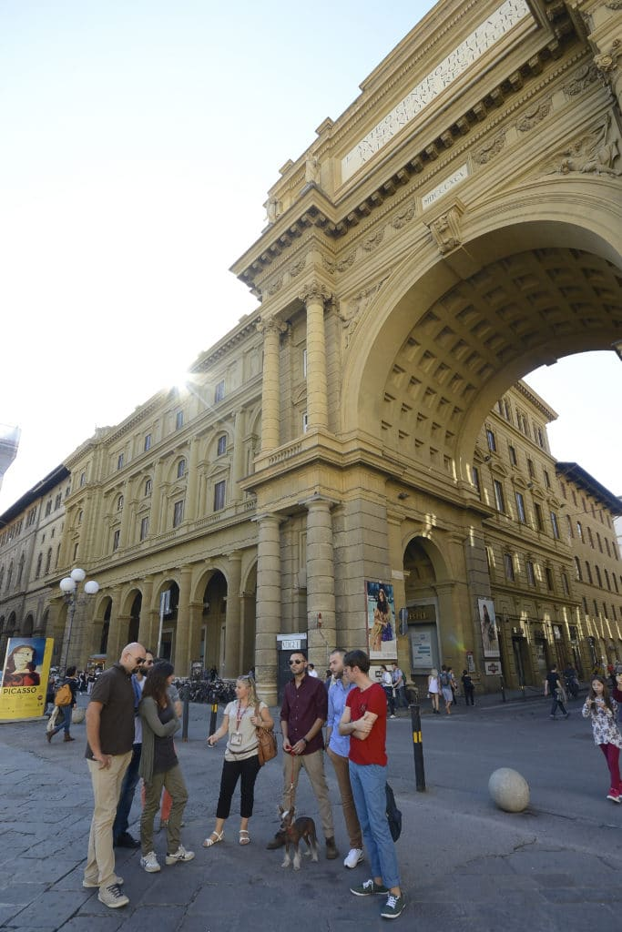 Republic Square, arch of triumph. The Jewish ghetto of Florence was here once.